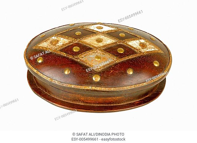 Brass design fitting on antique wooden box ; Jodhpur ; Rajasthan ; India