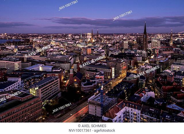 Panorama at night, Hanseatic City of Hamburg, Germany