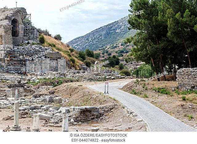High Resolution panoramic view of Ephesus historical ancient city, in Selcuk, Izmir, Turkey:20 August 2017