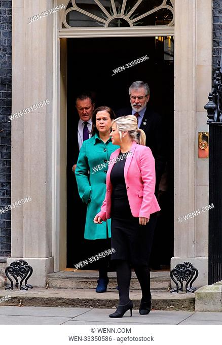 Leaders of the DUP, Arlene Foster and Sinn Fein, Gerry Adams meet Prime Minister Theresa May and Northern Ireland Secretary James Brokenshire at 10 Downing...