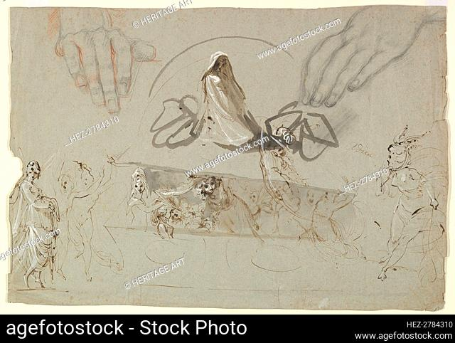 Studies of Fairies with a Pair of Hands (possibly representing the Opening of Pandora's Box), 1784. Creator: William Lock
