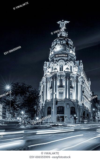 Gran via street, main shopping street in Madrid at night. Spain, Europe