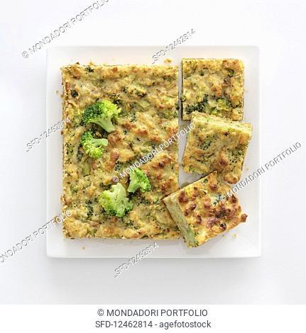 Bread and broccoli slices