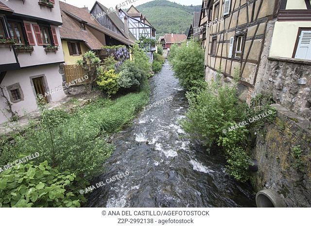 Kaysersberg, Alsace on May 13, 2016. :The famous idyllic Wine Village of Kaysersberg in Alsace near Colmar, France