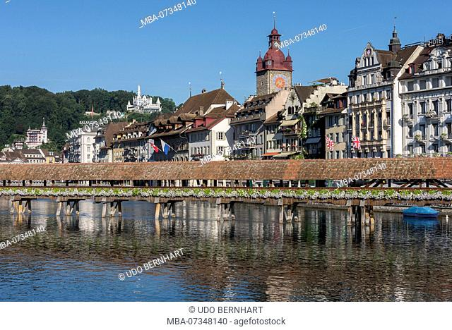 Kapellbrücke and City View with Town Hall Tower, Lucerne, Lake Lucerne, Canton of Lucerne, Switzerland