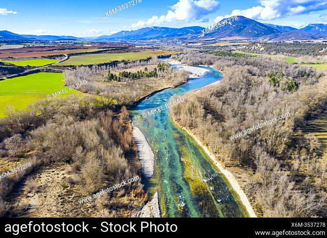 Riverbed in a natural landscape. Aragon river close to Yesa reservoir. Aerial view. Zaragoza, Aragon, Spain, Europe