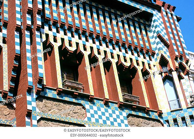 Detail of decoration at the facade of Vicens House (Gaudí, 1878-1880). Barcelona. Spain