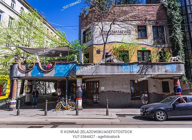 Hundertwasserhaus - famous apartment house in Vienna, Austria, view from Loewengasse street