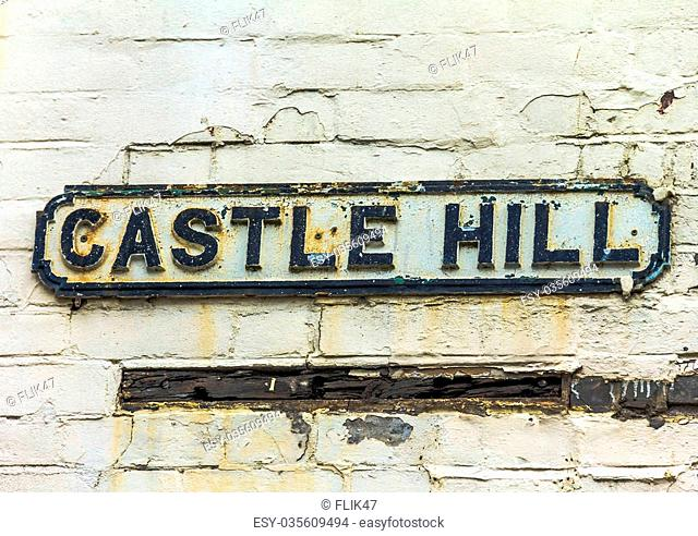 Street sign of Castle Hill in town of Windsor near Medieval Windsor Castle in the County of Berkshire. UK