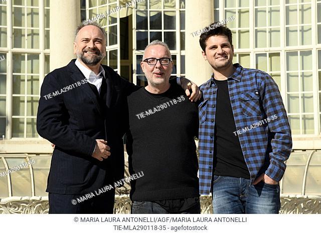 Massimo Popolizio, the director Luca Miniero, Frank Matano during the photocall of film Sono tornato, Rome, ITALY-29-01-2018