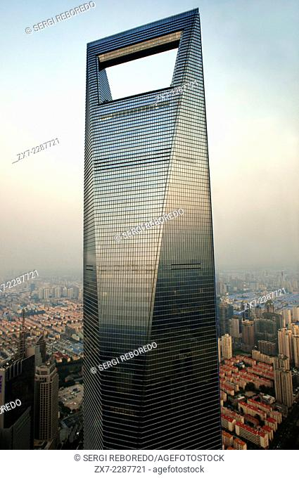 The Shanghai World Financial Center, Shanghai, China. The Shanghai World Financial Center, SWFC is a supertall skyscraper located in the Pudong district of...