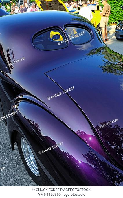 Purple Split-Window 1940 Ford Coupe at small town American car show