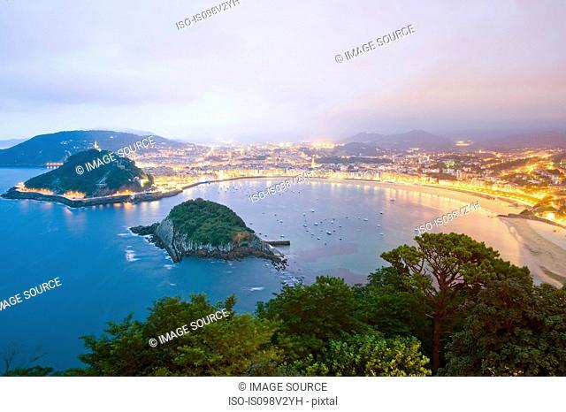 Bay of La Concha viewed from Monte Igueldo, San Sebastian, Spain