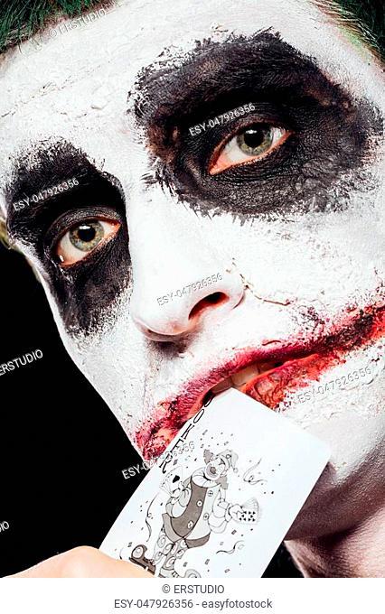 Halloween Joker Card.Holding Joker Card Stock Photos And Images Age Fotostock