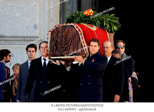 The family of Dictator attends to the Exhumation of the body of Francisco Franco at Catholic Basilica of the Valley of the Fallen on October 24