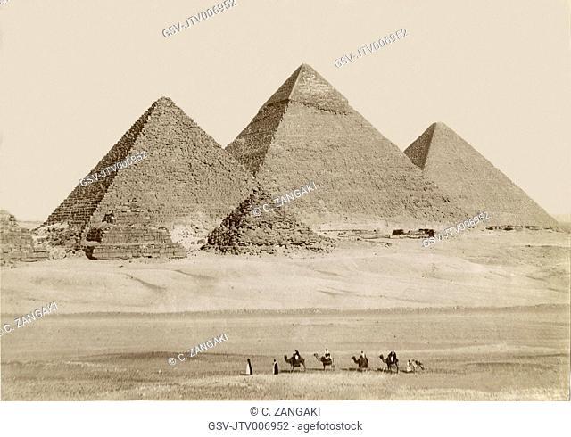 Pyramids, Giza, Egypt, Albumen Print, circa 1880