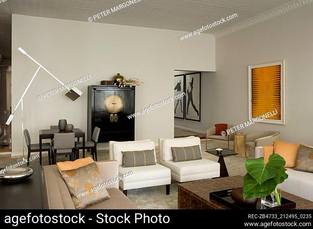 Upholstered seating around coffee table in modern sitting room with dining table and chairs