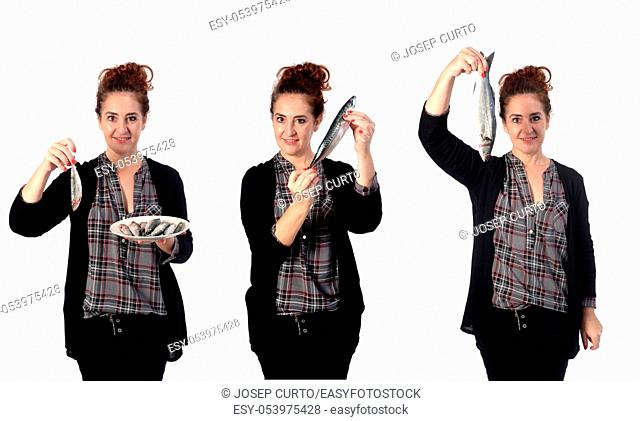 woman with various types of fish on white background