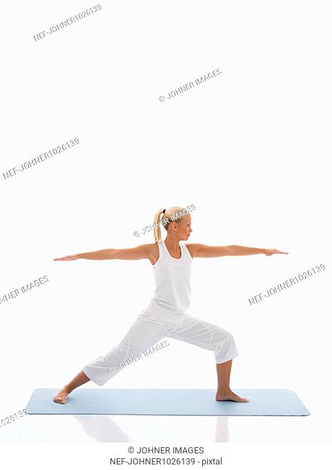 Teenage girl doing yoga