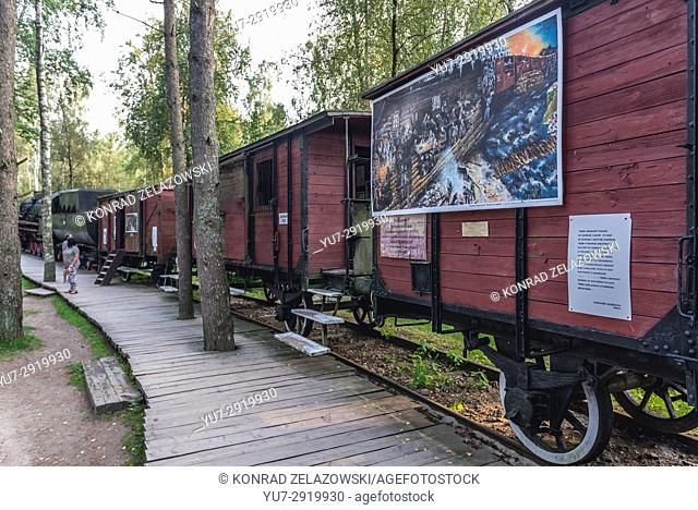 Old train in replica of Soviet exile settlement for Polish people in Centre for Education and Regional Promotion in Szymbark village, Poland