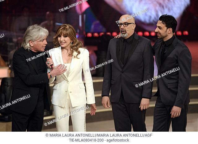 Ivan Lazzaroni, Milly Carlucci, Giovanni Ciacci and Raimondo Todaro during the tv show Dancing with the stars, Rome, ITALY-07-04-2018