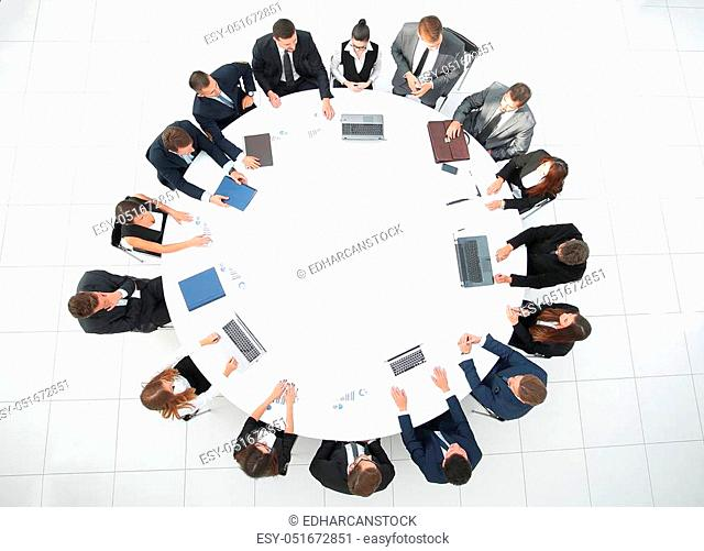 meeting of shareholders of the company at the round - table. the concept of business meetings