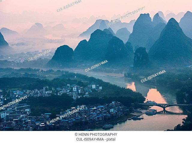 Morning mist over Karst Mountains of Guangxi and Yangshuo, China