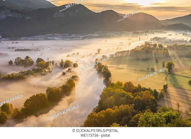 The mists of Adda river, Airuno, Adda Nord park, Lecco province, Brianza, Lombardy, Italy, Europe