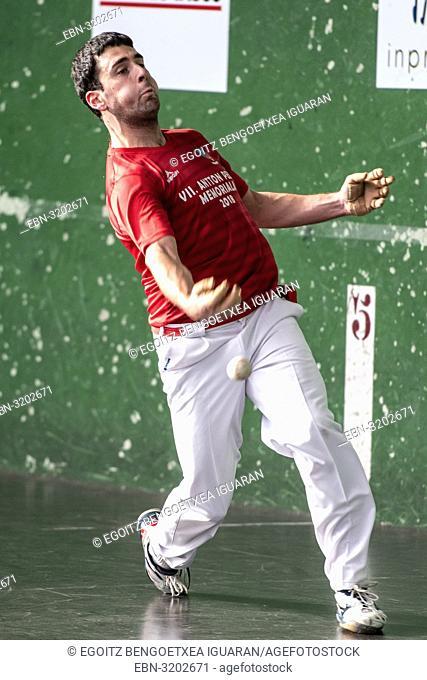 Julen Urruzola at the semi-finals of Antton Pebet basque pelota bare hand tournament. Villabona, Basque Country, Spain