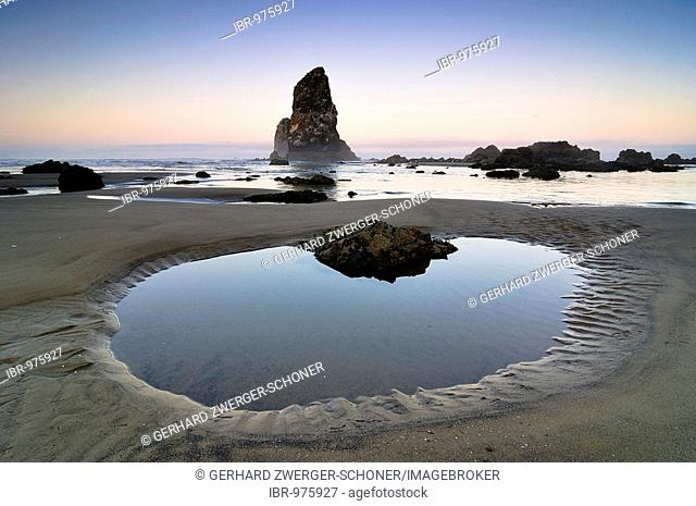 Monolith, solidified lava rock at Cannon Beach, Clatsop County, Oregon, USA, North America