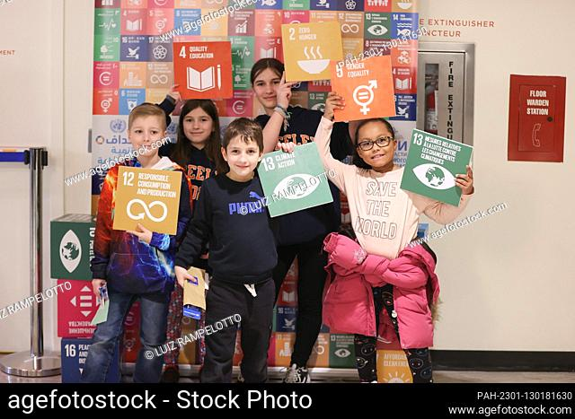 United Nations, New York, USA, February 21, 2020 - Children visiting the United Nations Headquarters during UN Kids Day 2020