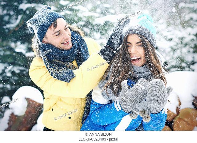 Snowball fight in winter make us happier. Debica, Poland