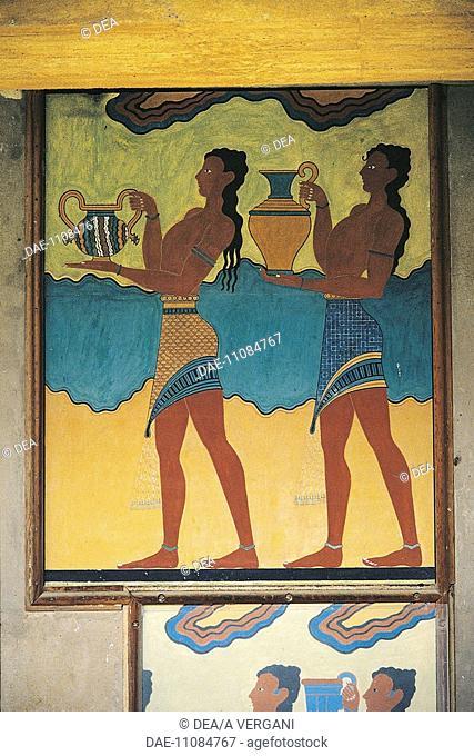Greece - Crete - Knossos. Palace of Minos. South propylaea. Libation bearers. Fresco