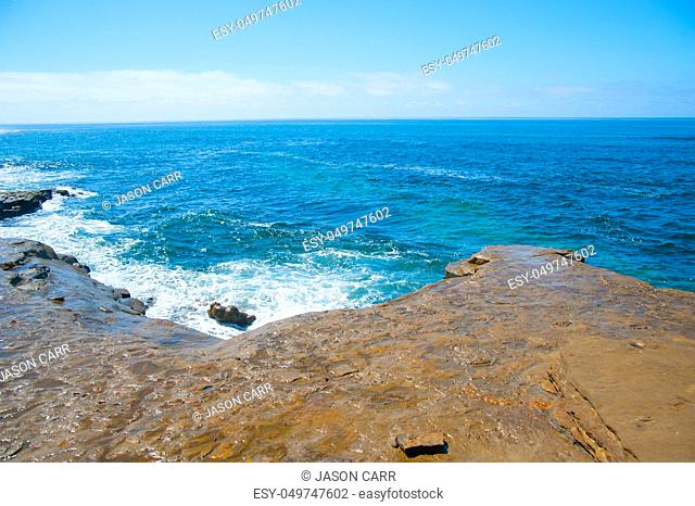 Rocky Sea site at the ocean around Long Beach, California. California is known with a good wether