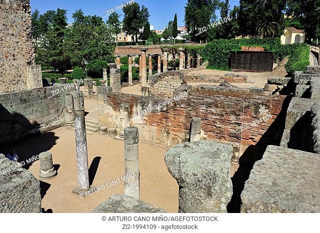 Gardens of the Roman theater. Merida, Badajoz, Spain