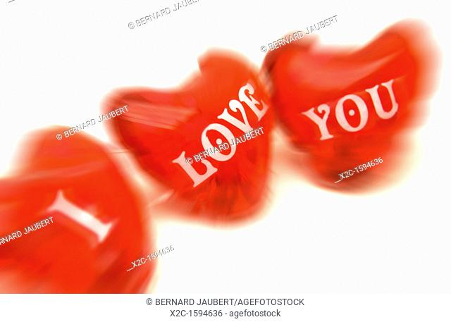 Red hearts, labelled 'I love you'
