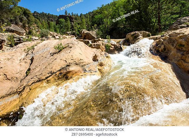 Las Chorreras waterfalls, Río Cabriel. Enguídanos. Cuenca province, Castile La Mancha, Spain