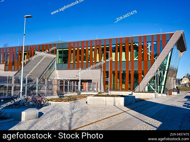 Modern railway station, Strangnas, Sodermanland County, Sweden