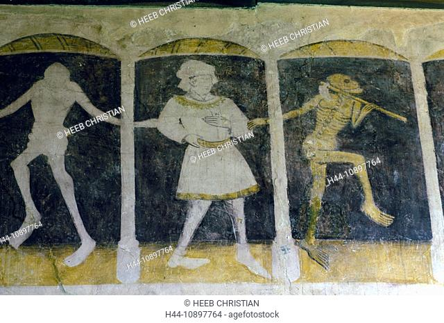 Fresco, La Danse Macabre, Chapelle de Kermaria an Isquit, Brittany, Bretagne, France, Europe, art, historical