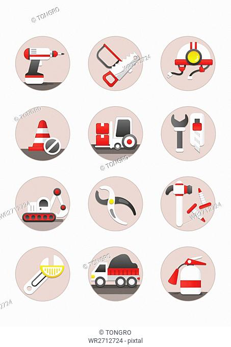Various icons related to construction tools
