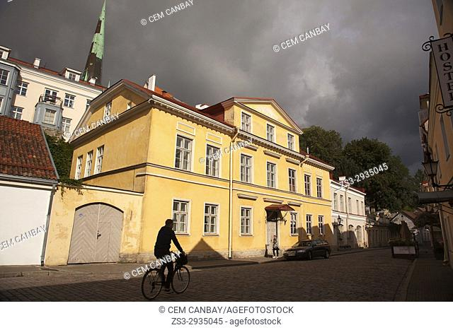 Silhouette of a cyclist in the streets of the old town,Tallinn, Estonia, Baltic States, Europe