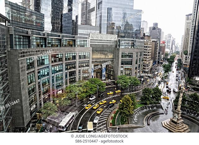 Looking Down at Columbus Circle, Time Warner Center, Broadway , on a rainy afternoon. Manhattan, New York City
