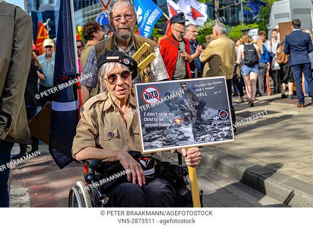 Brussels - Belgium - 24-05-2017 - Protestmars Trump not welcome in Brussels