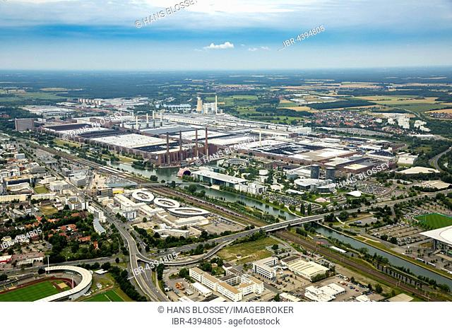 Aerial view, Volkswagen factory Wolfsburg Autostadt and Ritz Carlton Hotel, Lower Saxony, Germany