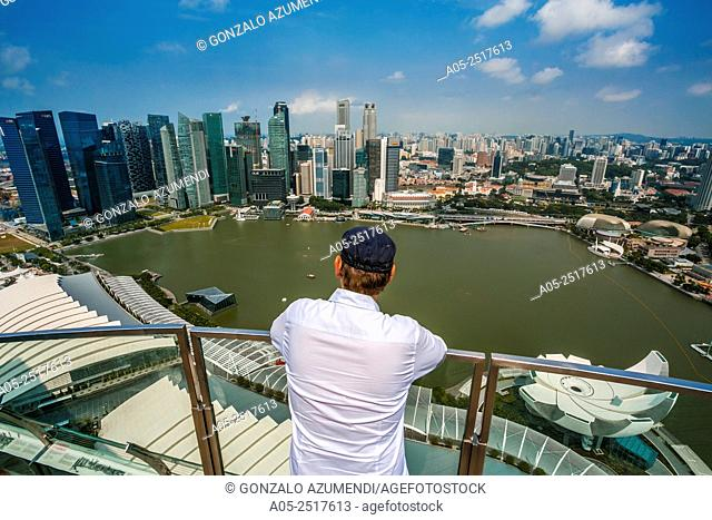 Marina Bay. View from Marina Bay Sands hotel. On the left Central Business District. In the foreground ArtScience Museum .City Skyline. Singapore