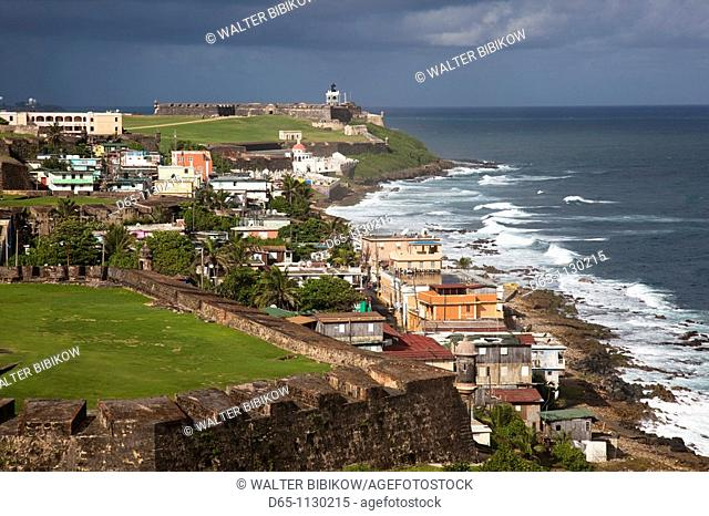 Puerto Rico, San Juan, Old San Juan, El Morro Fortress and La Perla village from Fort San Cristobal, elevated view