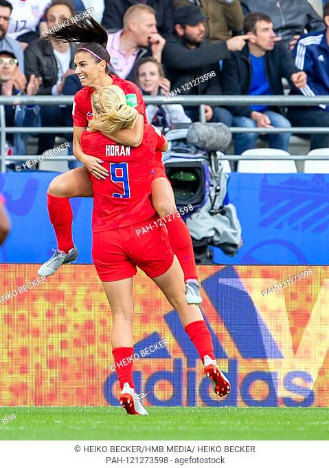France, Reims, Stade Auguste-Delaune, 11.06.2019, Football - FIFA Women's World Cup - USA - Thailand Picture: from left to right Lindsey Horan (USA
