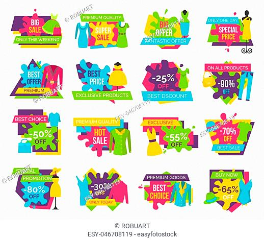 Big bundle of promo badges colorful labels exclusive premium goods choice buy now advertisements clothing apparels dresses, t-shirts and jackets vector