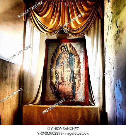 An altar to Our Lady of Guadalupe decorates a Templo de San Francisco chapel in Guanajuato, Mexico