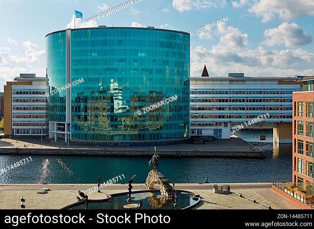COPENHAGEN, DENMARK - SEPTEMBER 16, 2017: Alm. Brand, formerly Aktieselskabet Det Ostasiatiske Kompagni (EAC, East Asiatic Company), designed by PLH Arkitekter
